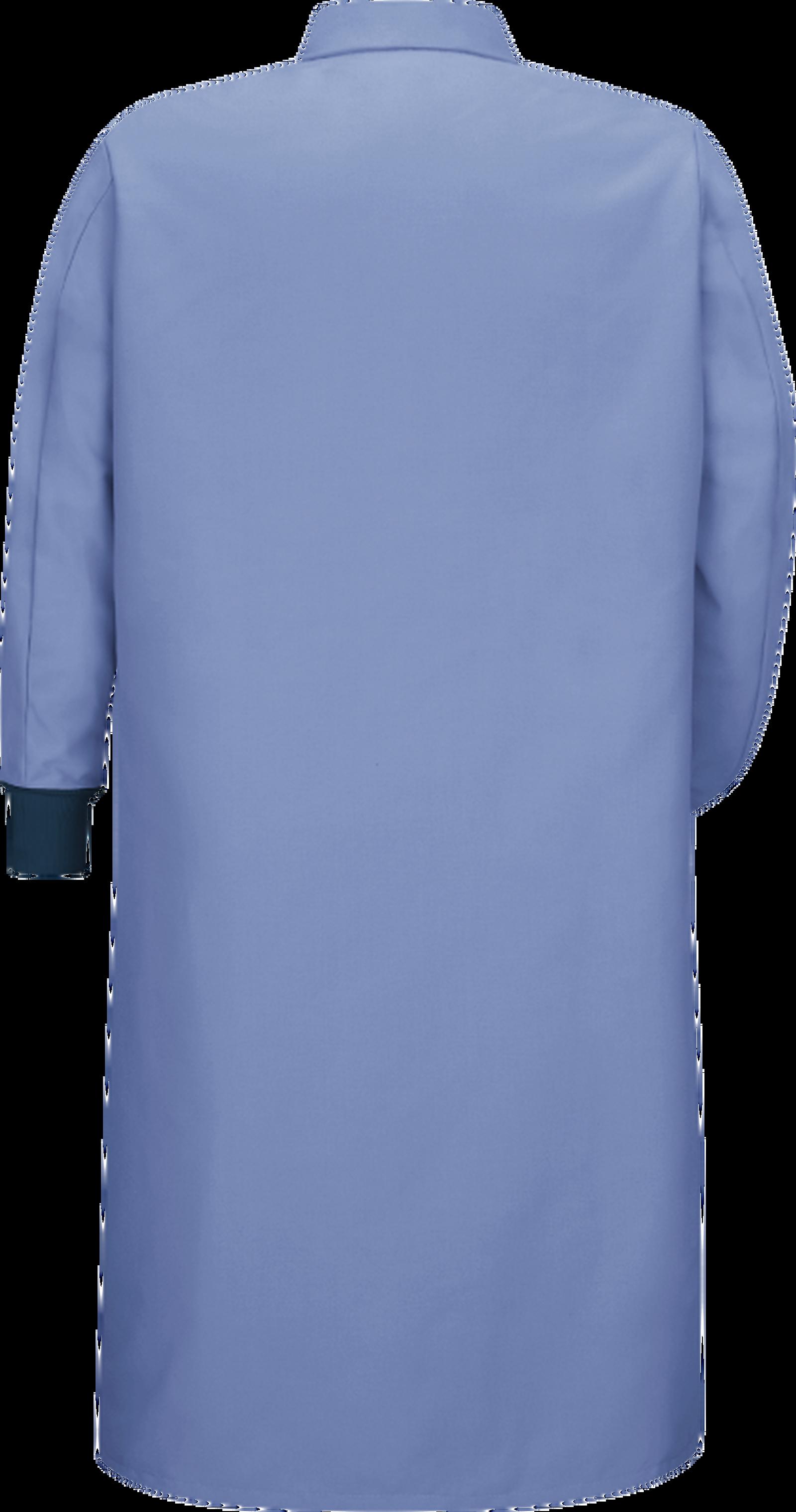Gripper-Front Spun Polyester Pocketless Butcher Coatwith Knit Cuffs