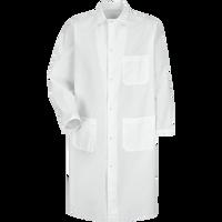 Gripper-Front Spun Polyester Butcher Coat with Exterior Pocket