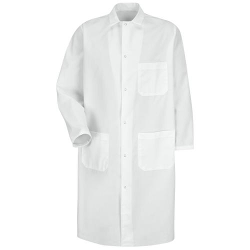 Gripper-Front Spun Polyester Butcher Coat with Exterior Pocket