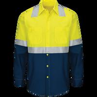 Men's Hi-Visibility Long Sleeve Color Block Ripstop Work Shirt - Type R, Class 2