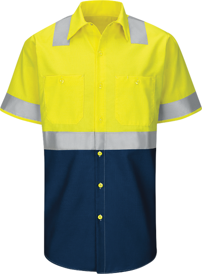 2d1acb660 Men's Hi-Visibility Short Sleeve Color Block Ripstop Work Shirt - Type R,  Class 2