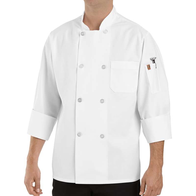 Chef Designs Eight Pearl Button Chef Coat with Thermometer Pocket