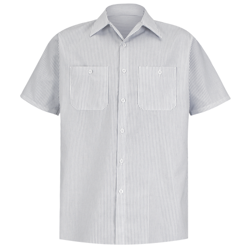 Men's Short Sleeve Industrial Stripe Work Shirt