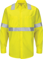 Men's Hi-Visibility Long Sleeve Color Block Ripstop Work Shirt - Type R, Class 2