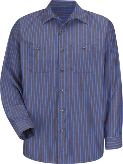 Men's Long Sleeve Industrial Stripe Work Shirt