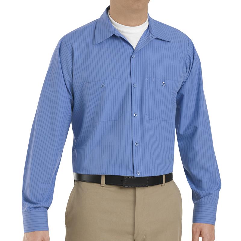 Men's Long Sleeve Industrial Stripe Work Shirt