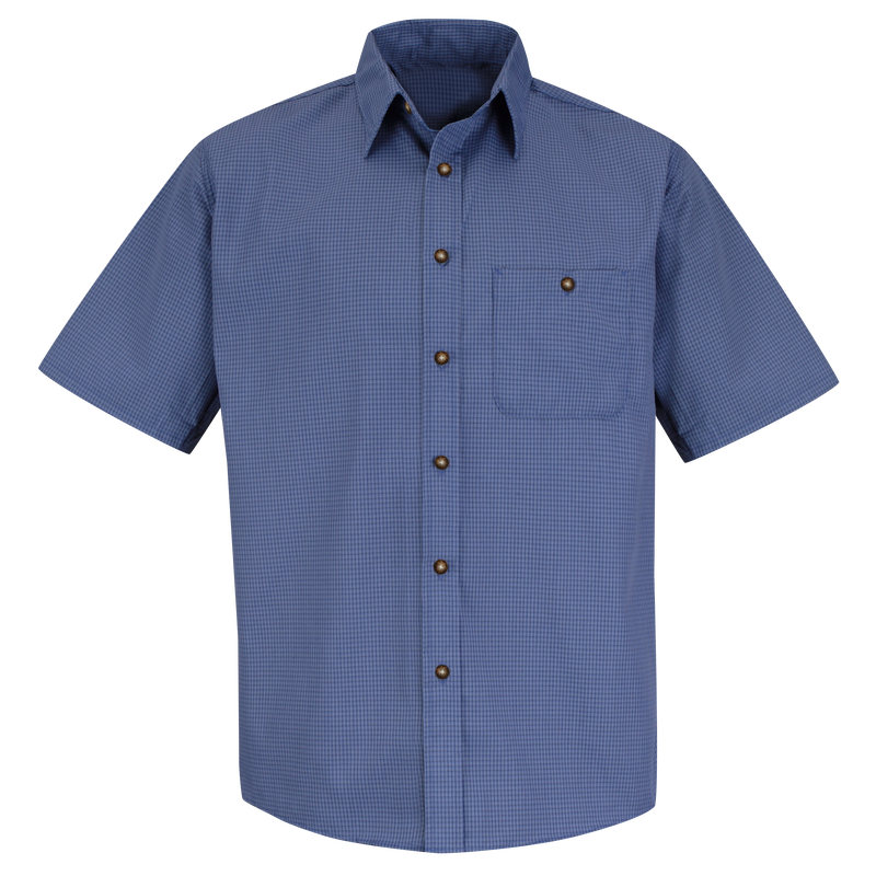 Men's Short Sleeve Mini-Plaid Uniform Shirt