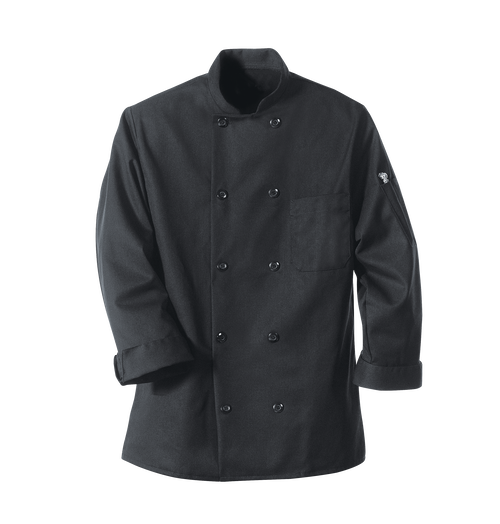 Black Chef Coat Ten Pearl Buttons