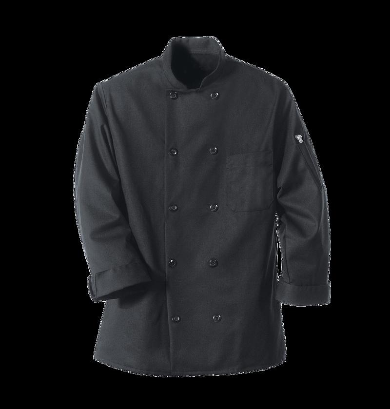 Chef Designs Black Chef Coat 10 Pearl Buttons