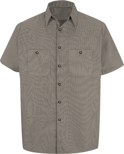 Men's Short Sleeve Microcheck Uniform Shirt