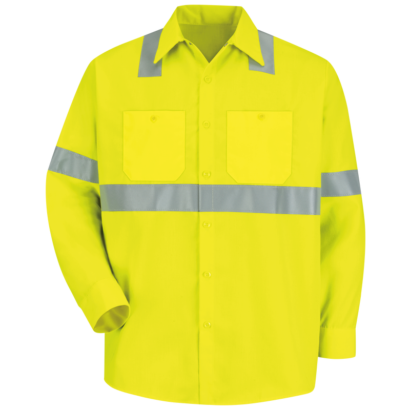 Men's Hi-Visibility Yellow Long Sleeve Work Shirt - Type R, Class 2