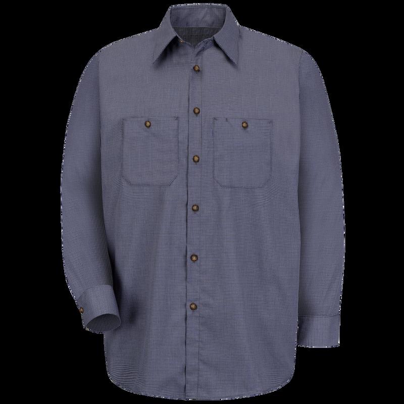 Long Sleeve Red Kap Mens Micro-Check Uniform Shirt Regular Fit