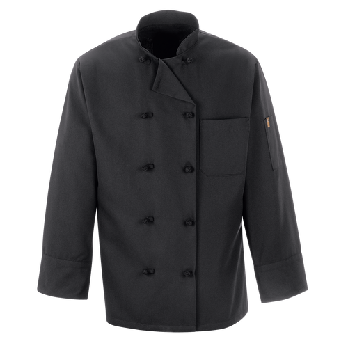 Black Chef Coat Ten Knot Buttons