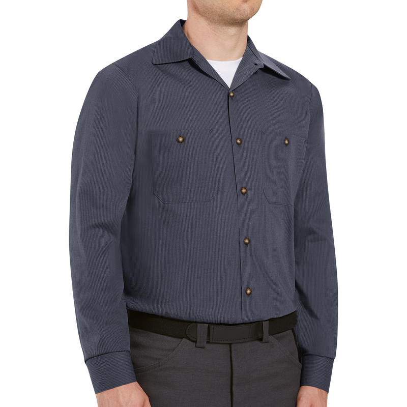 Men's Long Sleeve Geometric Microcheck Work Shirt