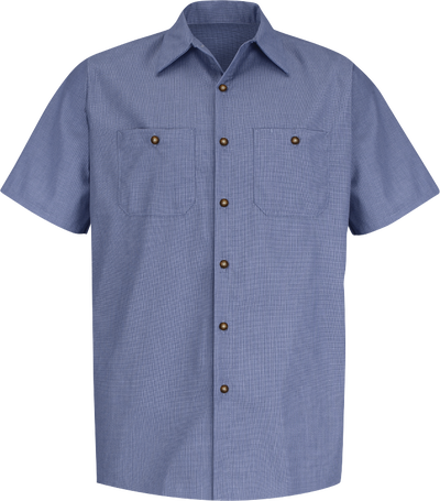Men's Short Sleeve Geometric Microcheck Work Shirt