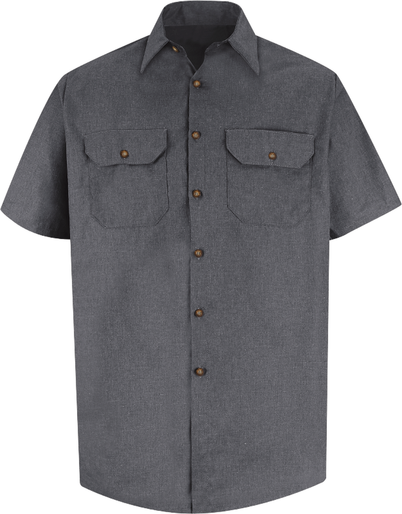 Men's Short Sleeve Heathered Poplin Uniform Shirt