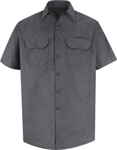 Men's Short Sleeve Heathered Poplin UniformShirt