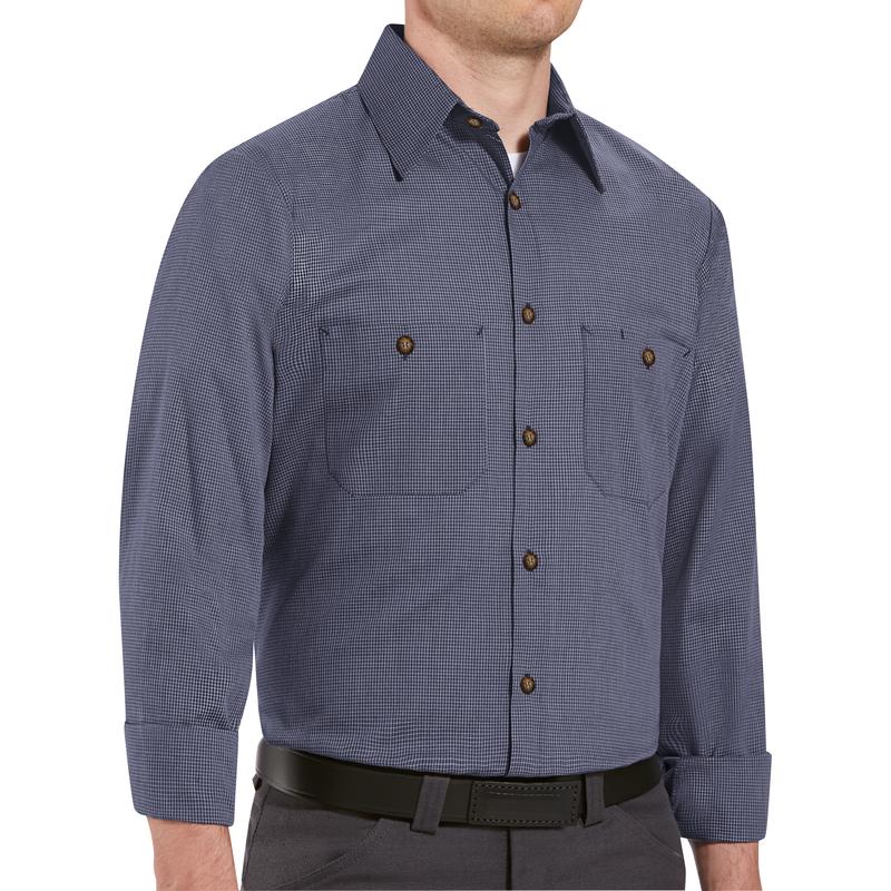Men's Long Sleeve Microcheck Uniform Shirt