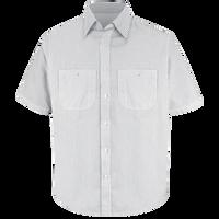 Men's Short Sleeve Striped Dress Uniform Shirt
