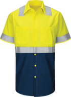 Men's Hi-Visibility Short Sleeve Color Block Ripstop Work Shirt - Type R, Class 2