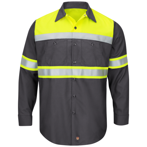 Hi-Visibility Long Sleeve Color Block Ripstop Work Shirt - Type O, Class 1