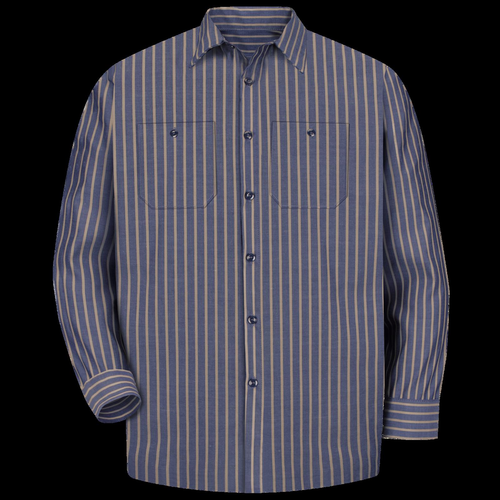 Red Kap Mens RK Industrial Stripe Long Sleeve Work Shirt