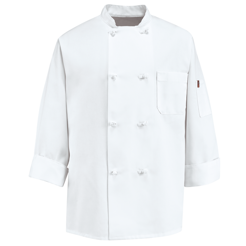 Eight Pearl Button Chef Coat with Thermometer Pocket