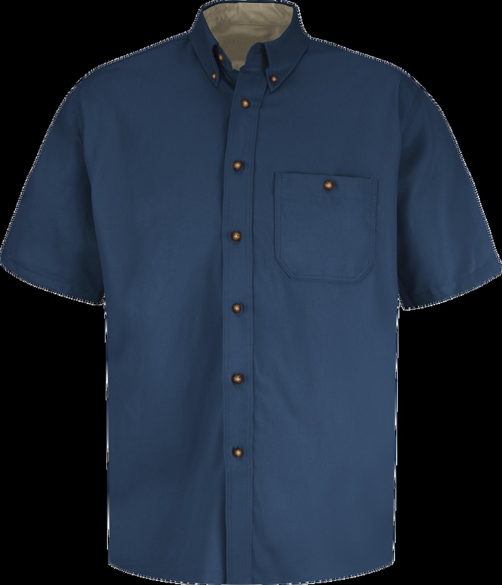 Men's Short Sleeve Cotton Contrast Dress Shirt