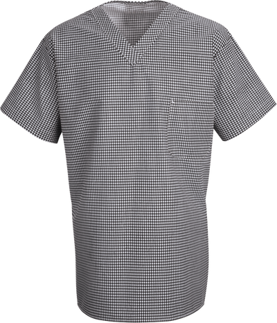 Chef Designs Checked V-Neck Chef Shirt