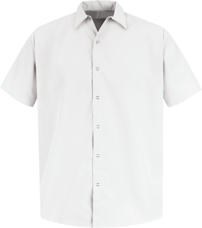 Men's Short Sleeve Specialized Pocketless Polyester Work Shirt