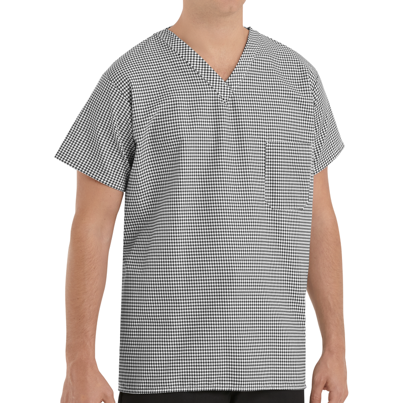 Chef Designs Checked V-Neck Chef Shirt