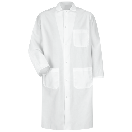 Gripper-Front Spun Polyester Butcher Coat with Interior Pocket