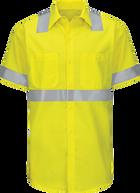Men's Hi-Visibility Short Sleeve Color Block Ripstop Work Shirt - Type R, Class 2