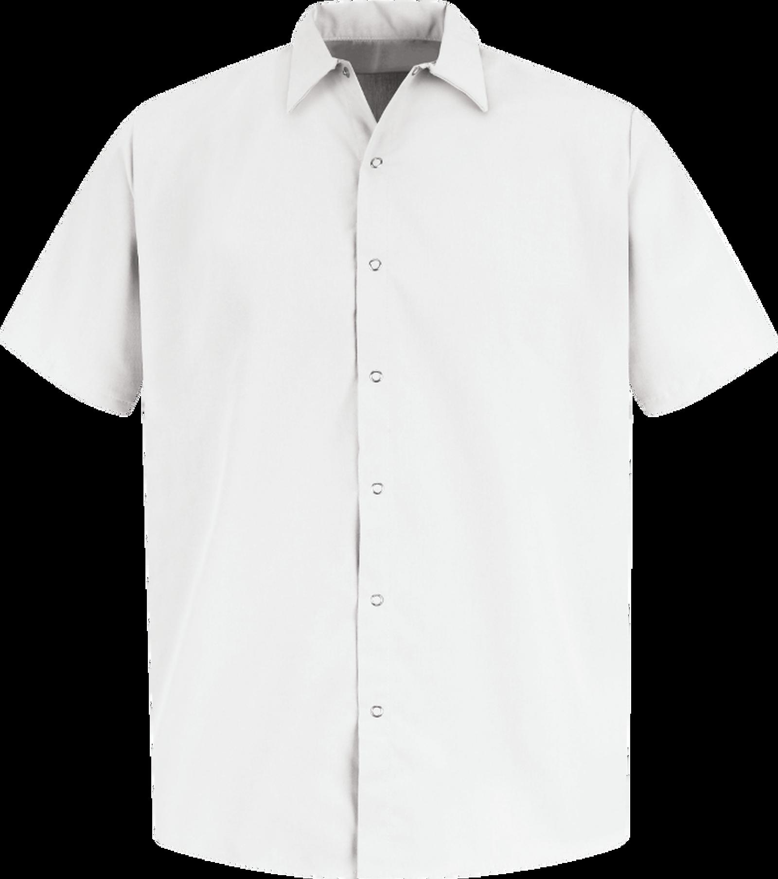Men's Short Sleeve Specialized Pocketless Polyester Work Shirt