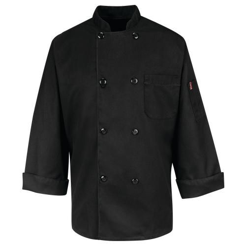 Eight Pearl Button Black Chef Coat