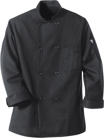 Chef Designs Eight Pearl Button Black Chef Coat