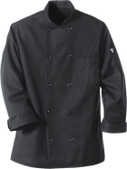 Chef Designs Black Chef Coat 10 Pearl Buttons
