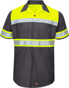 Men's Hi-Visibility Short Sleeve Color Block Ripstop Work Shirt - Type O, Class 1