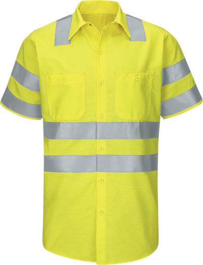 Men's Hi-Visibility Short Sleeve Ripstop Work Shirt - Type R, Class 3